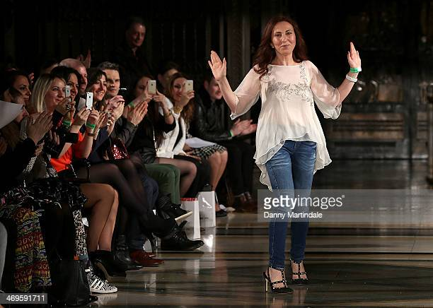 Zeynep Kartal walks the runway at the Zeynep Kartal show at the Fashion Scout venue during London Fashion Week AW14 at Freemasons Hall on February 15...