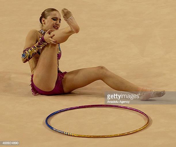Zeynep Kusem of Turkey gets injured during the first day of 33rd Rhythmic Gymnastics World Championships in Izmir Turkey on September 22 2014