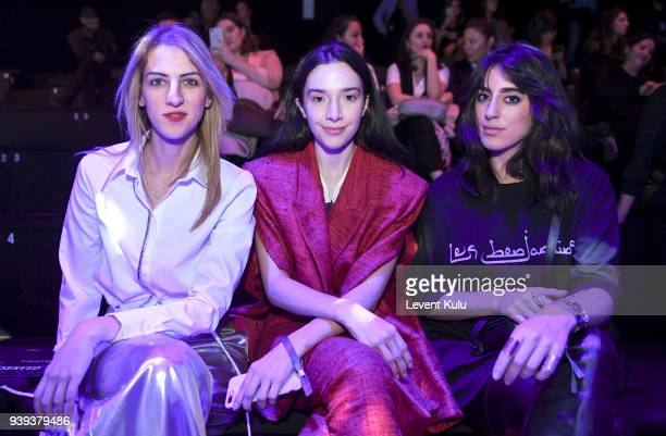 Zeynep Soylu Simay Yilmaz Nil Ninat attends the Brand Who show during Mercedes Benz Fashion Week Istanbul at Zorlu Performance Hall on March 28 2018...