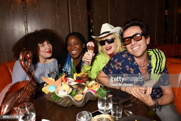 Zezi Ifore guest Pam Hogg and Nick Grimshaw attend The Grimmy Brunch Series at Sexy Fish on July 1 2018 in London England