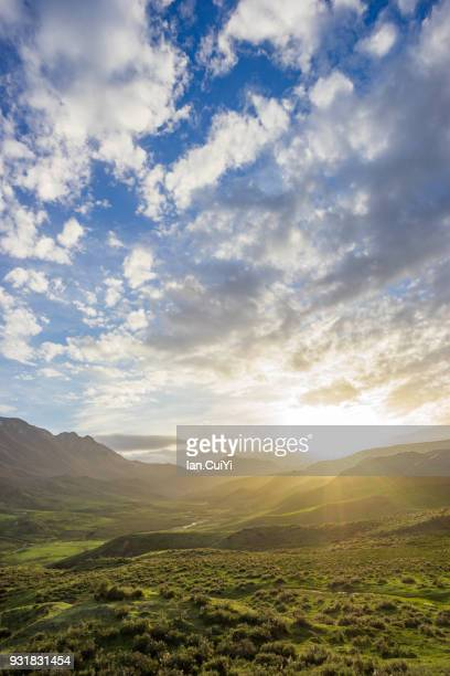 zhagana village and mountain,gansu, china (dusk) - gansu province stock pictures, royalty-free photos & images
