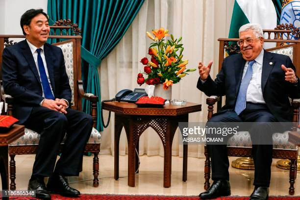 Zhai Jun , Special Envoy of the Chinese Government on the Middle East Issue, meets with Palestinian president Mahmud Abbas at his office in the West...