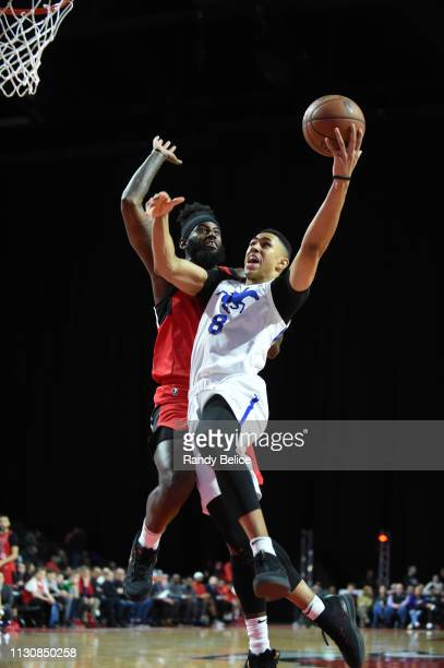 Zhaire Smith of the Delaware Blue Coats drives past JaKarr Simpson of the Windy City Bulls during an NBA GLeague game on March 15 2019 at Sears...