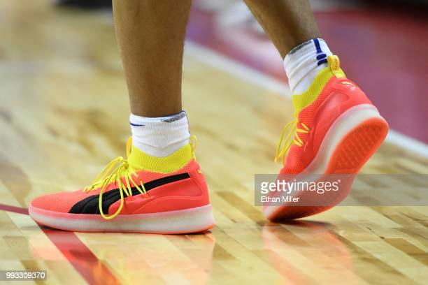 Zhaire Smith of the Philadelphia 76ers wears Puma sneakers during a 2018 NBA Summer League game against the Boston Celtics at the Thomas Mack Center...