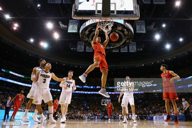 Zhaire Smith of the Texas Tech Red Raiders dunks the ball during the second half against the Purdue Boilermakers in the 2018 NCAA Men's Basketball...