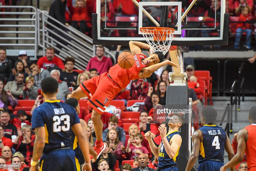 Zhaire Smith #2 of the Texas Tech Red Raiders dunks the basketball during the game against the West Virginia Mountaineers on January 13, 2018 at United Supermarket Arena in Lubbock, Texas.
