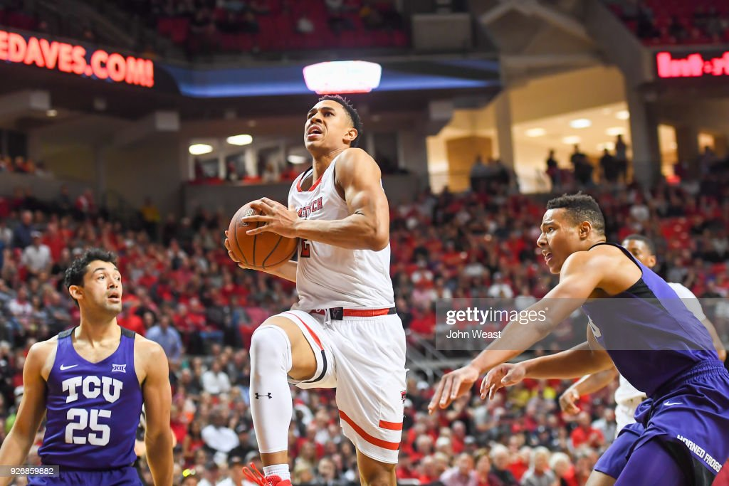 Zhaire Smith #2 of the Texas Tech Red Raiders goes to the basket during the first half of the game against the TCU Horned Frogs on March 3, 2018 at United Supermarket Arena in Lubbock, Texas.