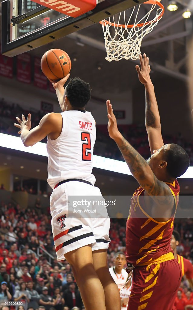 Zhaire Smith #2 of the Texas Tech Red Raiders goes to the basket for a reverse layup during the second half of the game against the Iowa State Cyclones on February 7, 2018 at United Supermarket Arena in Lubbock, Texas. Texas Tech defeated Iowa State 76-58.