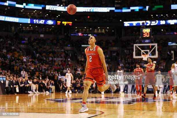 Zhaire Smith of the Texas Tech Red Raiders reacts during the second half against the Purdue Boilermakers in the 2018 NCAA Men's Basketball Tournament...