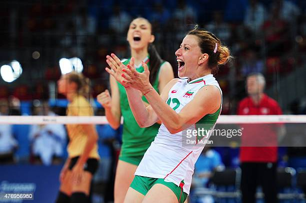 Zhana Todorova of Bulgaria celebrates a point in the Women's Volleyball Preliminary Round match against Germany during day one of the Baku 2015...