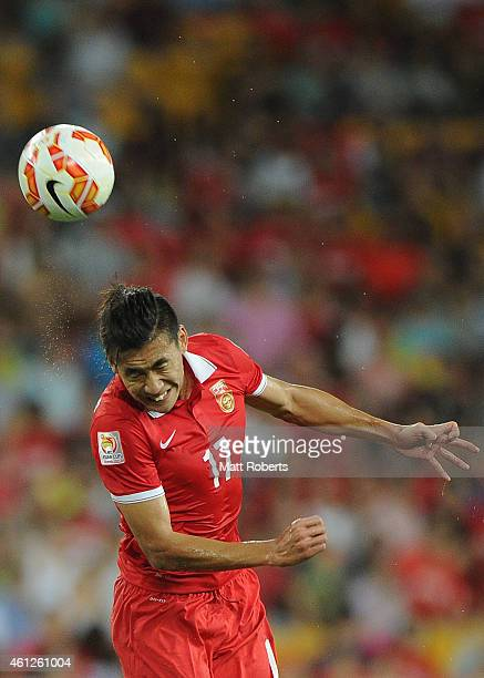Zhang Chengdong of China PR heads the ball during the 2015 Asian Cup match between Saudi Arabia and China PR at Suncorp Stadium on January 10 2015 in...