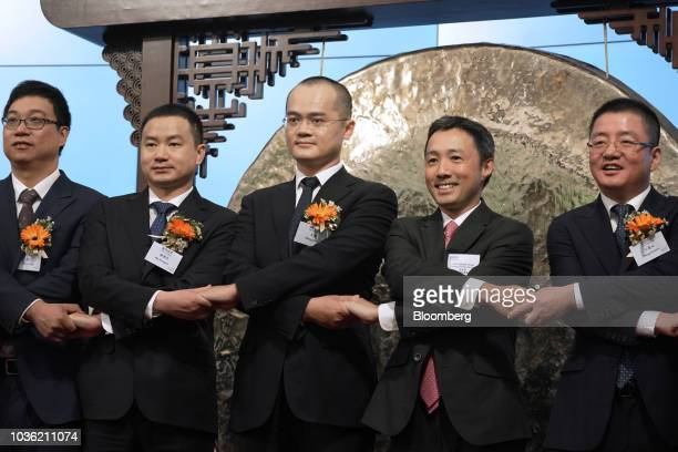 Zhang Chuan senior vice president at Meituan Dianping from left Mu Rongjun senior vice president and cofounder of Meituan Dianping Wang Xing chairman...