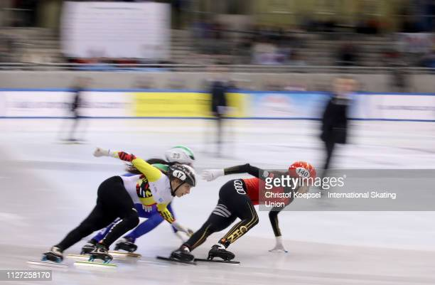 Zhang Chutong competes during the second ladies 500 meter semi final heat one during the ISU Short Track World Cup Day 2 at EnergieVerbund Arena on...