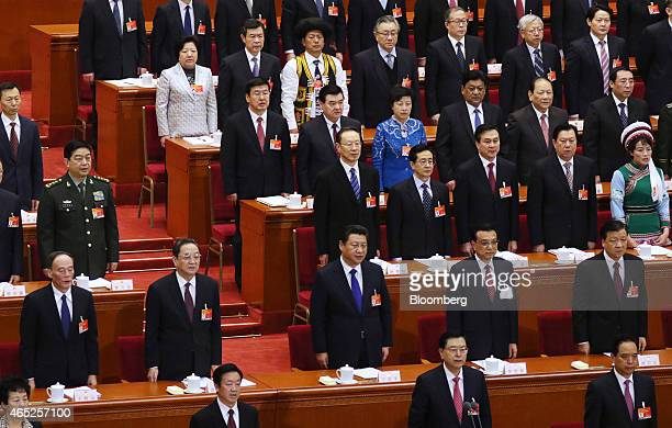 Zhang Dejiang member of China's Politburo Standing Committee and chairman of the Standing Committee of the National People's Congress front row...