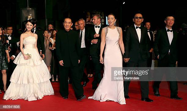 Zhang Huiwen Zhang Yimou Chen Daoming Li Gong and producer Zhao Zhang attends the Coming Home Premiere at the 67th Annual Cannes Film Festival on May...