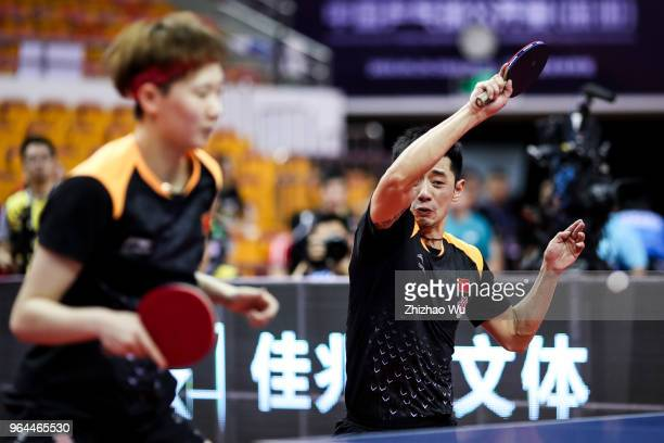 Zhang Jike and Wang Manyu in action at the mixed doubles match compete with VS Ho Kwan Kit£¯Lee Ho Ching of Hong Kong China during the 2018 ITTF...