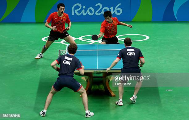 Zhang Jike and Xu Xin of China compete against Samuel Walker and Paul Drinkhall of Great Britain during the Table Tennis Men's Quarterfinal Match...
