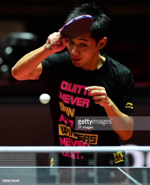"""Zhang jike """"n in action during the Table Tennis World Championship at Messe Duesseldorf on May 29, 2017 in Dusseldorf, Germany."""