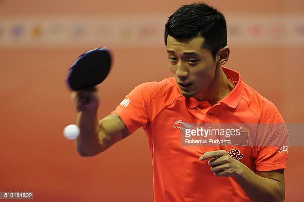 Zhang Jike of China competes against Lubomir Jancarik of Czech Republic during the 2016 World Table Tennis Championship Men's Team Division Round 4...