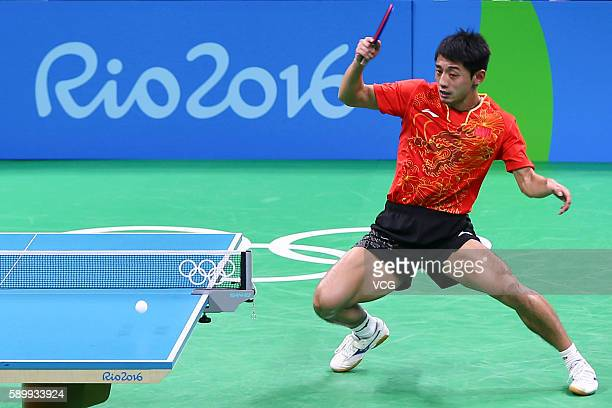 Zhang Jike of China competes against Youngsik Jeoung of Korea during the Table Tennis Men's Team Semifinal on Day 10 of the Rio 2016 Olympic Games at...