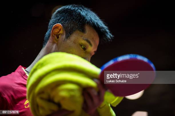Zhang Jike of China competes at Table Tennis World Championship at Messe Duesseldorf on June 01 2017 in Dusseldorf Germany