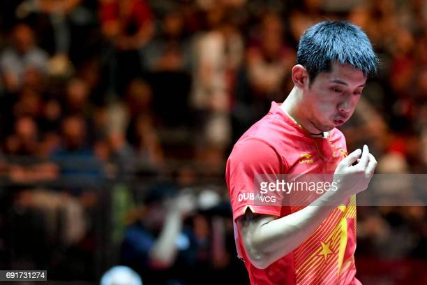 Zhang Jike of China competes during Men's Singles third round match against South Korean Lee Sangsu on day 5 of World Table Tennis Championships at...