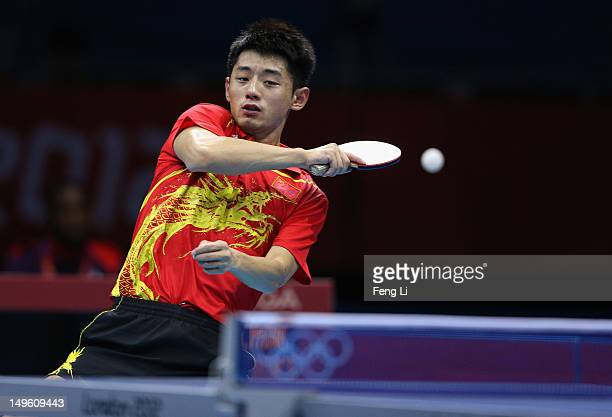 Zhang Jike of China competes in his Men's Singles Table Tennis Quarter Final match against Tianyi Jiang of Hong Kong, China on Day 5 of the London...