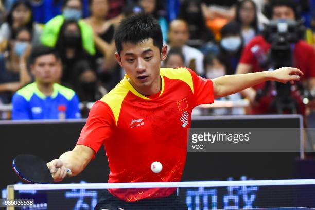 Zhang Jike of China competes in the Men's Singles first round match against Tomokazu Harimoto of Japan during day two of the 2018 ITTF World Tour...