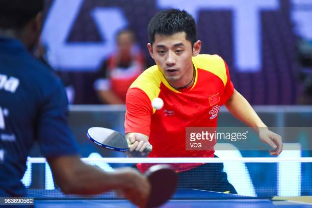 Zhang Jike of China competes in the Men's Singles qualifying match against Quadri Aruna of Nigeria during day two of the Seamaster 2018 ITTF World...