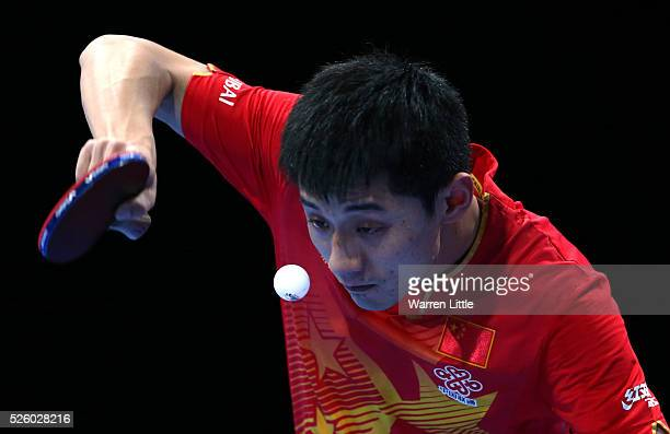 Zhang Jike of China in action against Womg Chun Ting of Hong Kong during the Men's Singles semi final match on day two of the Nakheel Table Tennis...