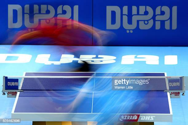 Zhang Jike of China in action against Wong Chun Ting of Hong Kong during day one of the Nakheel Table Tennis Asian Cup 2016 at Dubai World Trade...