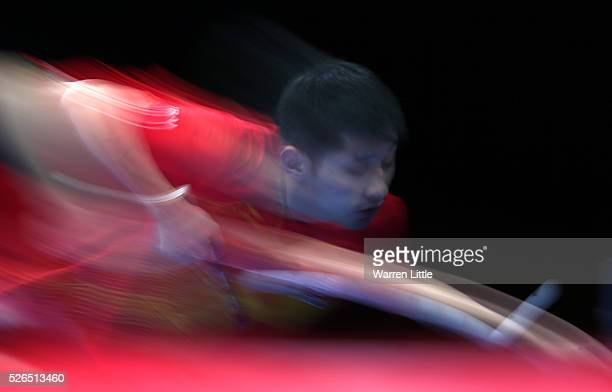 Zhang Jike of China in action against Xu Xin of China during the Men's singles final of the Nakheel Table Tennis Asian Cup 2016 at Dubai World Trade...