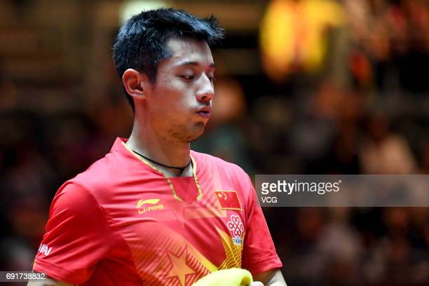 Zhang Jike of China reacts during Men's Singles third round match against South Korean Lee Sangsu on day 5 of World Table Tennis Championships at...