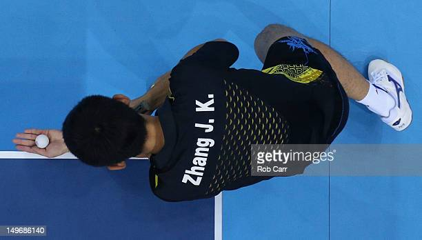 Zhang Jike of China serves during Men's Singles Table Tennis Gold medal match against Wang Hao of China on Day 6 of the London 2012 Olympic Games at...