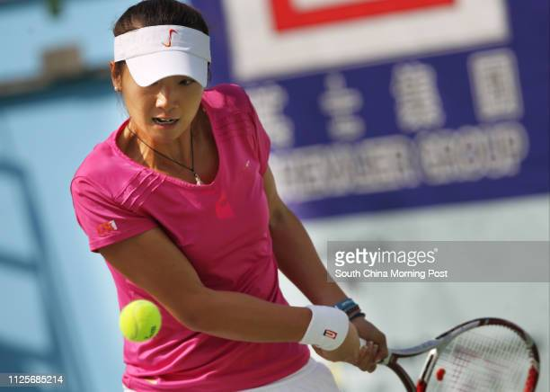 Zhang Ling of Hong Kong plays against Mayo Hibi of Japan at Chevalier Hong Kong ITF Women's Circuit Series in Victoria Park, Causeway Bay. 31DEC13