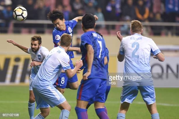 Zhang Lu of Shanghai Shenhua FC heads the ball during the AFC Champions League Group H match between Shanghai Shenhua FC and Sydney FC at the Hongkou...