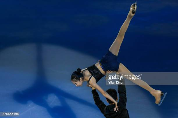 Zhang Mingyang and Song Bowen of China performs during exhibition program of Audi Cup of China ISU Grand Prix of Figure Skating 2017 at Beijing...