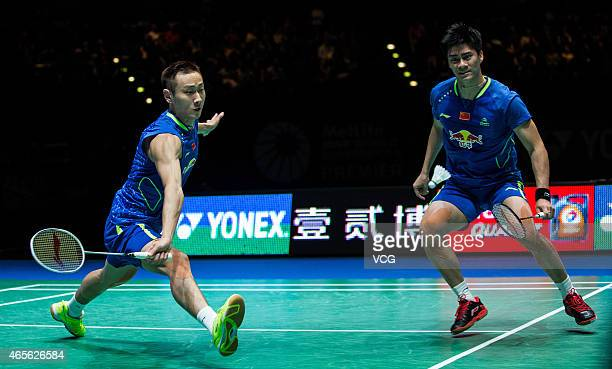 Zhang Nan and Fu Haifeng of China compete against Boe Mathias and Carsten Mogensen of Denmark in the men's mixed doubles final during day six of...