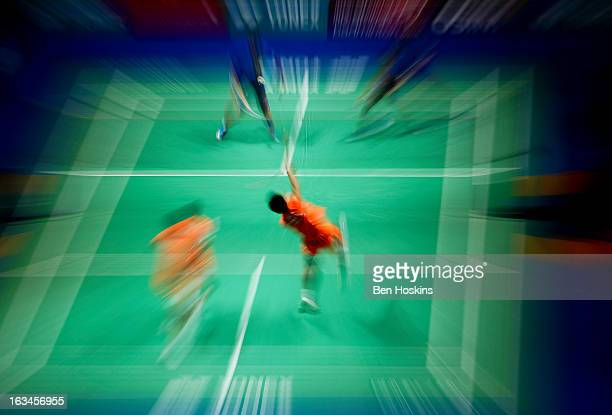Zhang Nan of China hits a shot during Day 6 of the Yonex All England Badminton Open at NIA Arena on March 10 2013 in Birmingham England
