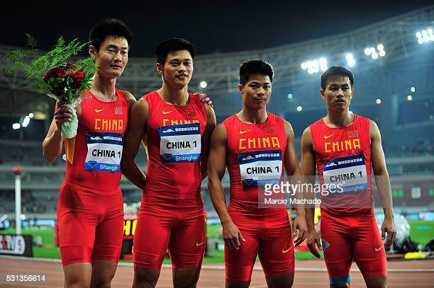 Zhang Peimeng Xie Zhenye Su Bingtian and Chen Shiwei of China celebrating after win the Men's 4x100 Metres Relay during the 2016 IAAF Diamond League...