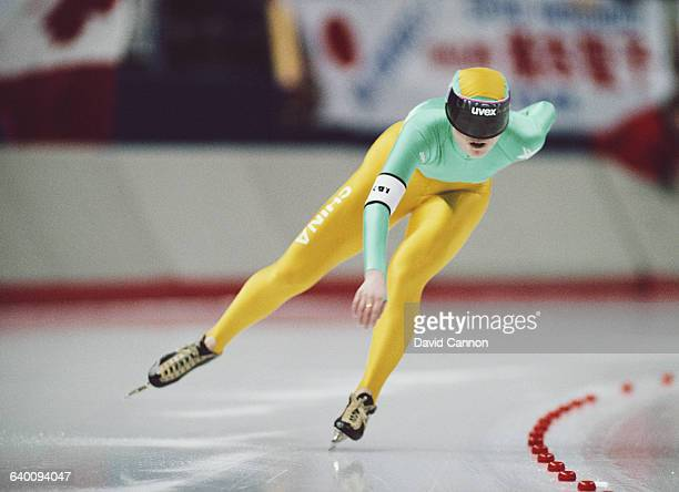 Zhang Qing of China skates in the Womens 3000m speed skating competition on 23 February 1988 during the XV Olympic Winter Games at the Olympic Oval...