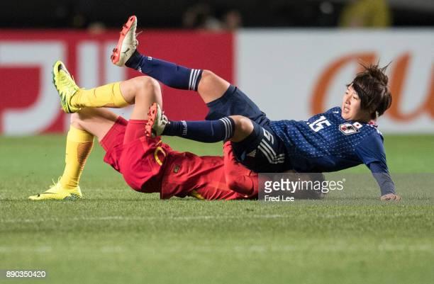Zhang rui of China and Momiki yuka of Japan in action during the EAFF E1 Women's Football Championship between Japan and China at Fukuda Denshi Arena...