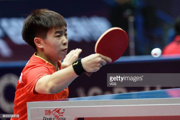 Zhang Rui of China competes during the women's singles first round match against Tianwei Feng of Singapore on the day one of the 2017 ITTF World Tour...