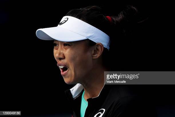 Zhang Shuai of China celebrates winning match point during her semi final singles match against Veronika Kudermetova of Russia during day seven of...