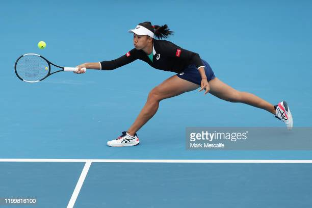 Zhang Shuai of China plays a forehand during her quarter final singles match against Lauren Davis of the Unites States during day six of the 2020...