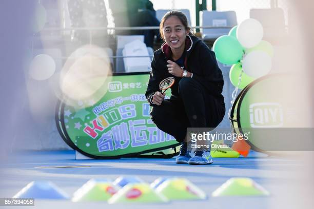 Zhang Shuai of China plays a game during the Iqiyi kids day on day five of the 2017 China Open at the China National Tennis Centre on October 4, 2017...