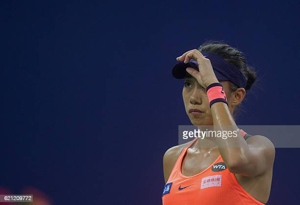 Zhang Shuai of China reacts during the singles semifinal match against Petra Kvitova of the Czech Republic during their women's singles semifinal...