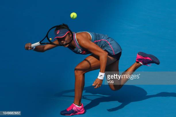 Zhang Shuai of China returns a shot in the Women's Singles Quarter-final match against Naomi Osaka of Japan on day seven of the 2018 China Open at...