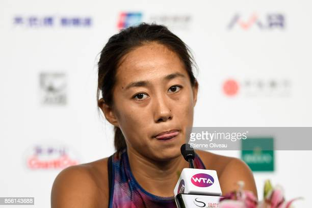 Zhang Shuai of China speaks during a press conference on day two of the 2017 China Open at the China National Tennis Centre on October 1, 2017 in...