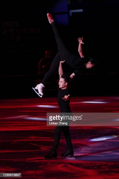 Zhang Siyang and Yang Yongchao of China performs in the gala exhibition during day 4 of the 2021 Asia Open Figure Skating test event for the Beijing...